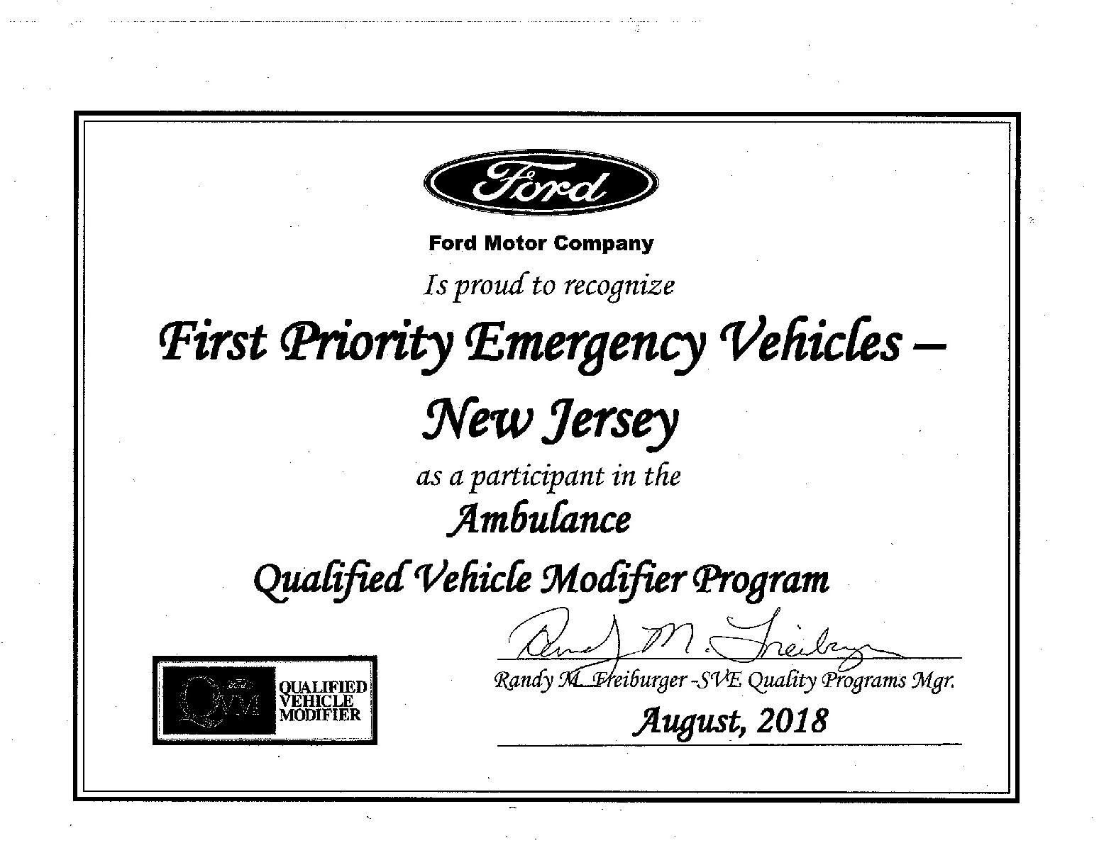 Ford QVM Certifcation 201810232018-001